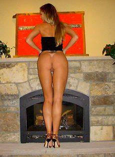 Виктория позирует возле камина - фото #