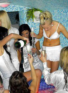 Европейские девки быстренько удовлетворились в бассейне - фото #