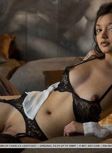 Сексуальная девушка в чулках умеет красиво позировать - фото #7
