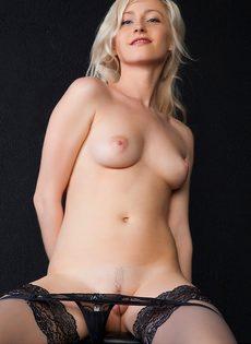 Великолепная блондинка в черных чулках и ее сладенькие дырочки - фото #5