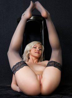 Великолепная блондинка в черных чулках и ее сладенькие дырочки - фото #8
