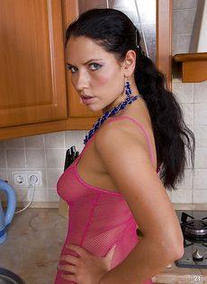 Фотографии страстной брюнетки в сетчатом наряде на кухне - фото #9