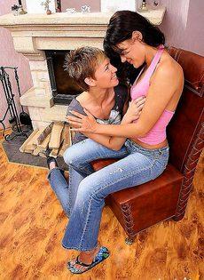 Лесбийские игры в гостиной - фото #