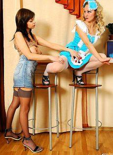 Хозяйка трахнула свою уборщицу - фото #