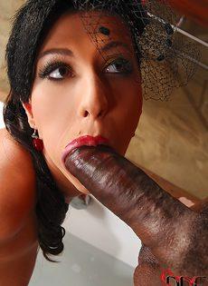 Здоровенный хрен заглатывает сексапильная девчонка - фото #