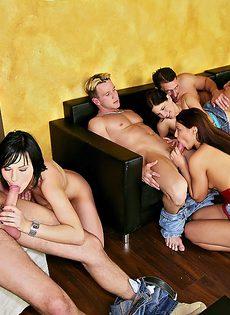 Групповой секс двух парней и двух молоденьких брюнеток - фото #