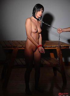 Милашке Abbie Cat запихнули вагинальные шарики в дырочку - фото #