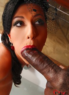 Здоровенный хрен заглатывает сексапильная девчонка