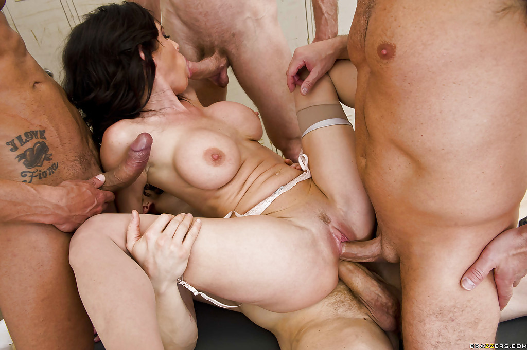Husband punishes mature with double penetration group sex